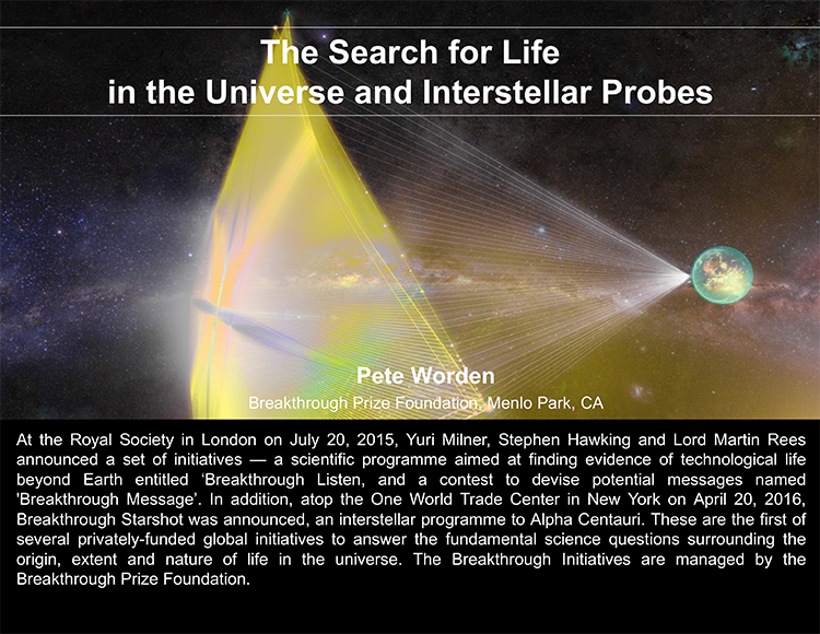Plenary: THE SEARCH FOR LIFE IN THE UNIVERSE AND INTERSTELLAR PROBES